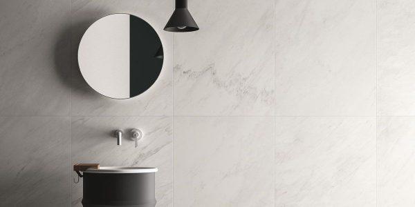 Graniti Fiandre Premium White Marble Lab room shot.  Edinburgh Tile Studio..