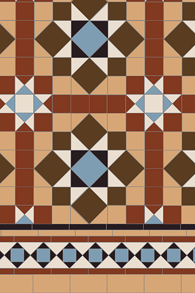 Original Style Victorian Floor Range. Diamonds Chatsworth.  Edinburgh Tile Studio.