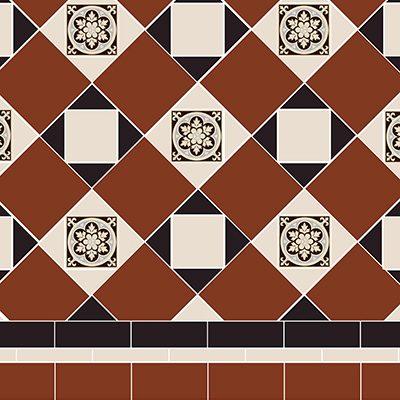 Original Style Victorian Floor Range. Geometric Fotheringhay.  Edinburgh Tile Studio.