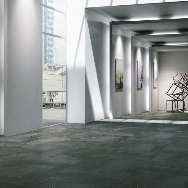Graniti Fiandre Megablack Megalith Maximum room shot.  Edinburgh Tile Studio..