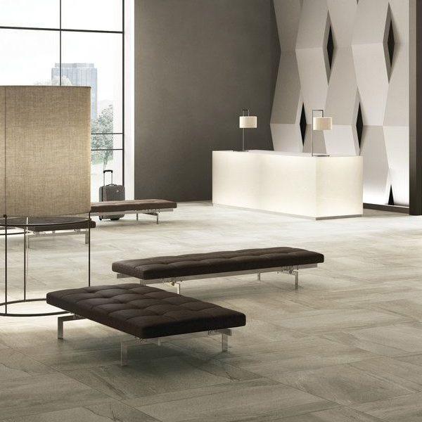 Graniti Fiandre Megabrown Megalith Maximum room shot.  Edinburgh Tile Studio..