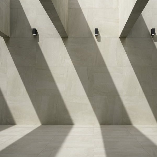Graniti Fiandre Megawhite Megalith Maximum room shot.  Edinburgh Tile Studio..