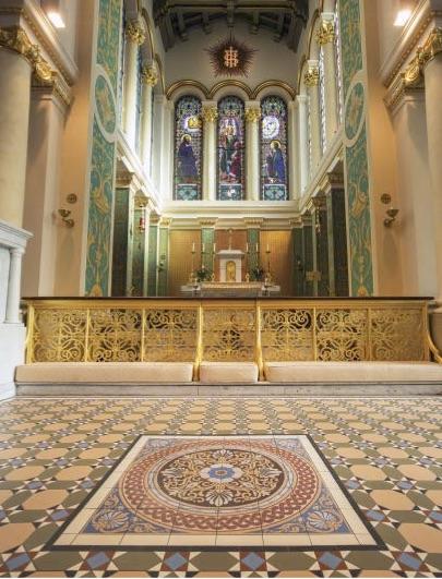 Original Style Victorian Floor Range. Hand Decorated Palmerston Blue.  Edinburgh Tile Studio.