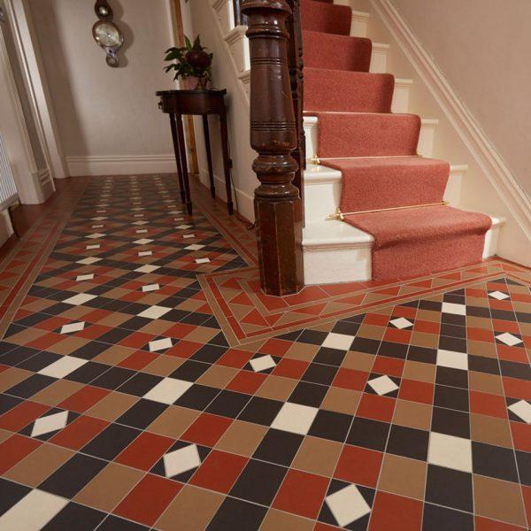 Original Style Victorian Floor Range. Geometric Richmond.  Edinburgh Tile Studio.