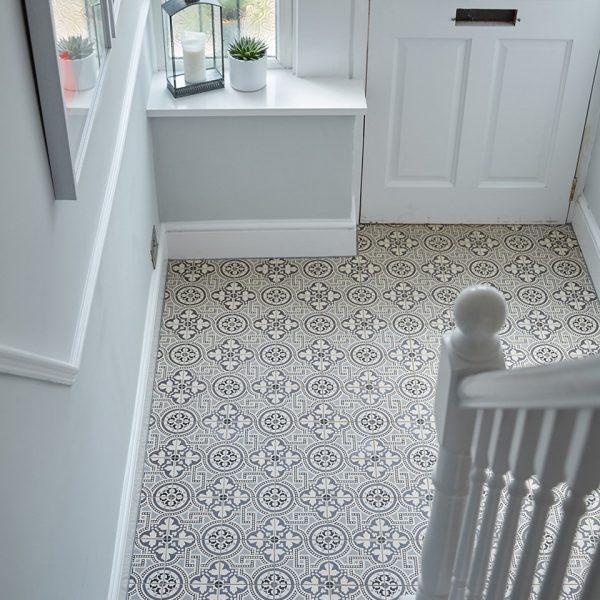 Original Style Victorian Floor Range. Hand Decorated Black on Dover White.  Edinburgh Tile Studio.