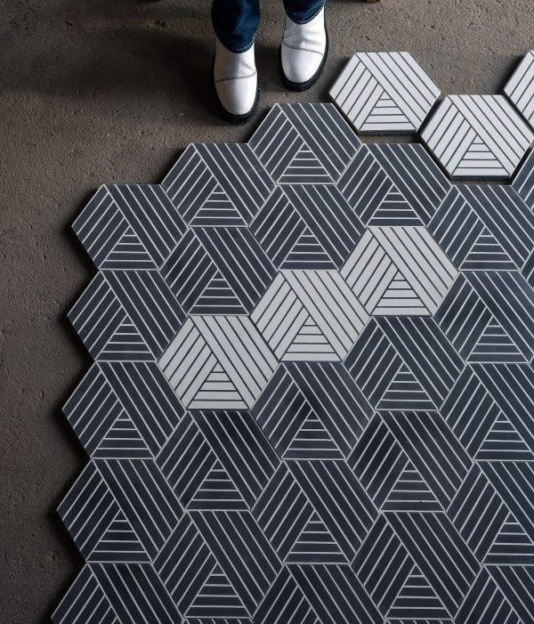 Marrakech Deisgn. Fold Charcoal/Salmiak.  Edinburgh Tile Studio.