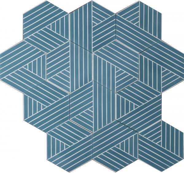 Marrakech Deisgn. Fold Pigeon Blue Pure White.  Edinburgh Tile Studio.
