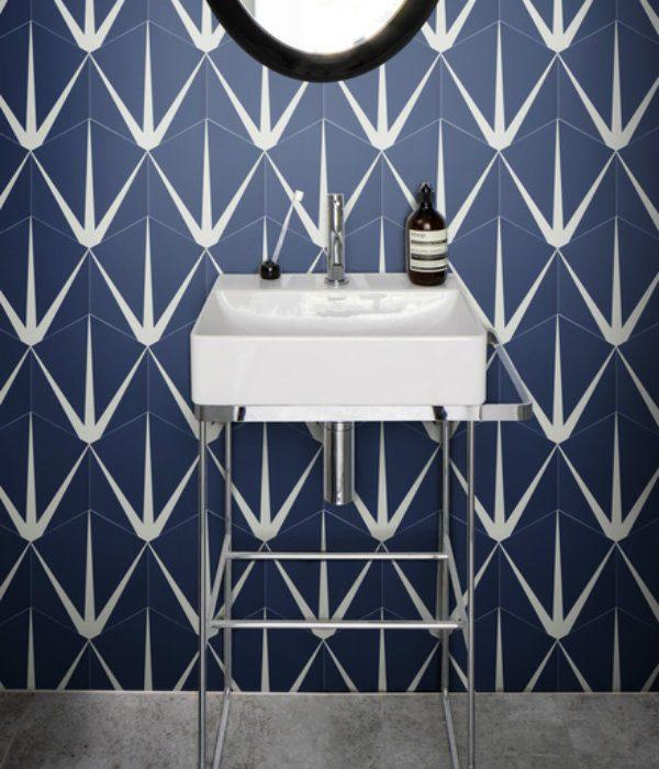 Ca' Pietra Lily Pad Porcelain, Admiral.  Edinburgh Tile Studio.