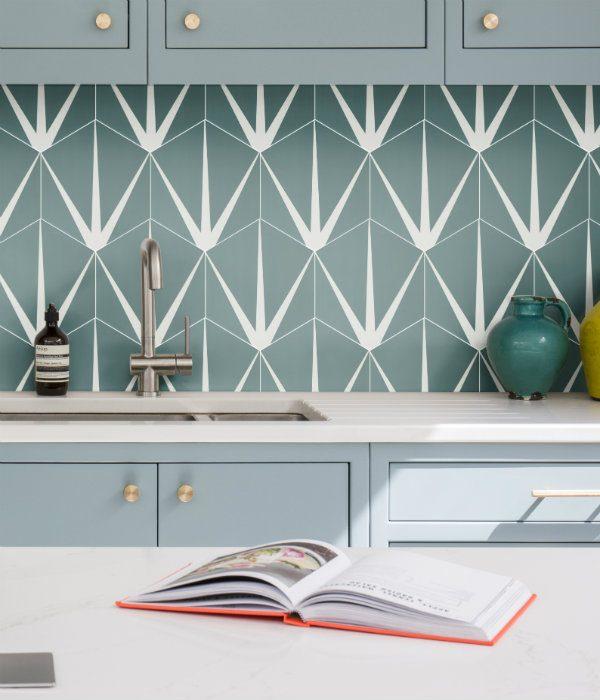 Ca' Pietra Lily Pad Porcelain, Eucalyptus.  Edinburgh Tile Studio.