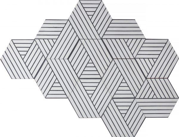 Marrakech Deisgn. Fold Pure White Soot.  Edinburgh Tile Studio.