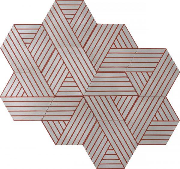 Marrakech Deisgn. Fold Wind Ruby Red.  Edinburgh Tile Studio.