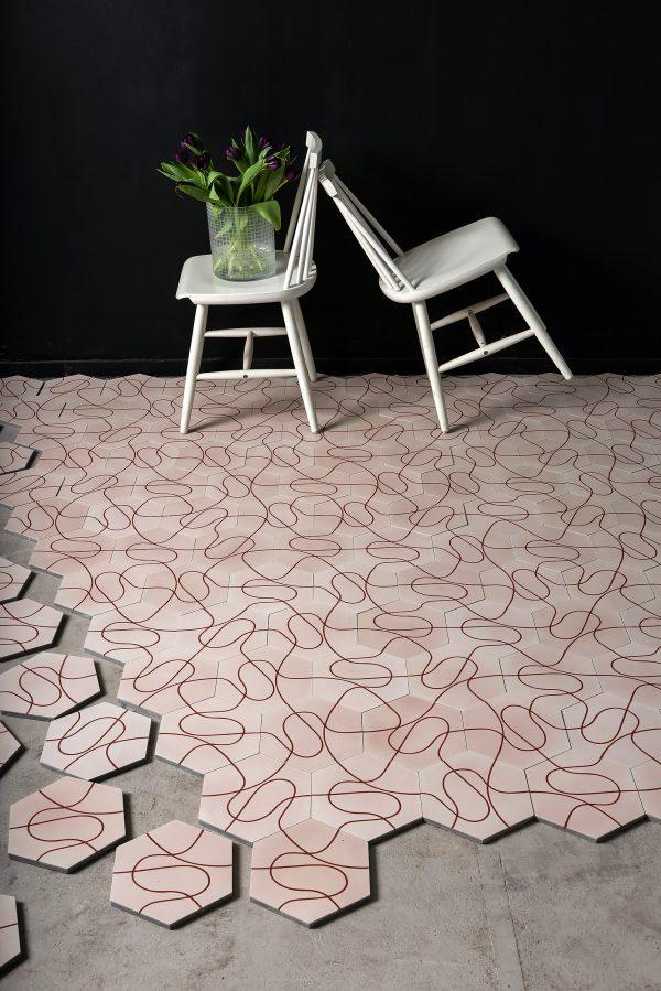 Marrakech Deisgn. Paths Pale Pink Ruby Red.  Edinburgh Tile Studio.