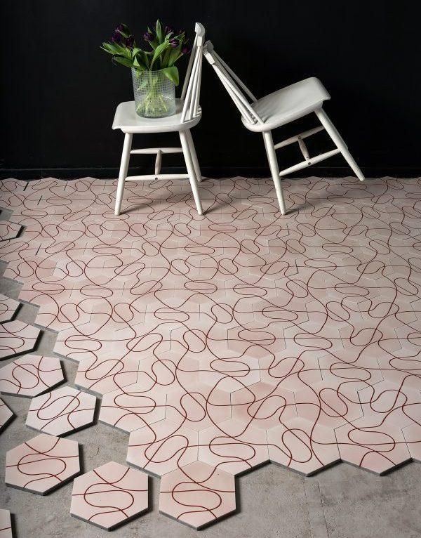 Marrakech Design Paths Pale Pink/Ruby Red. Edinburgh Tile Studio.