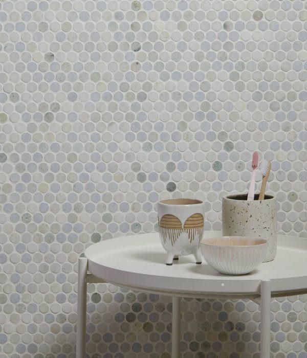 Ca' Pietra Lotus Penny Marble Mosaic. Edinburgh Tile Studio.