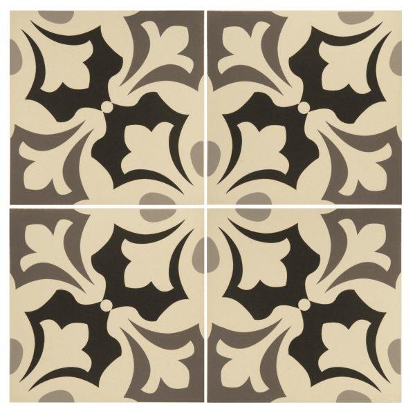 Original Style Odyssey. Grande Rococo Light Blue, Rococo Light Grey Dark Grey and Black on White. Edinburgh Tile Studio.