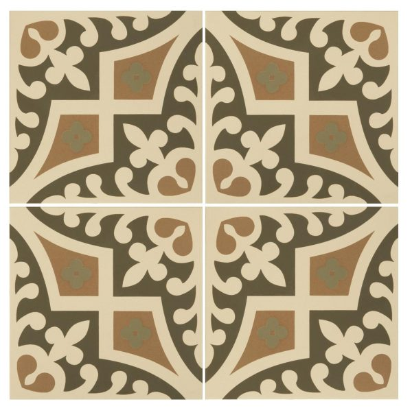 Original Style Odyssey. Romanesque Dublin, Khaki and Old London on White. Edinburgh Tile Studio.