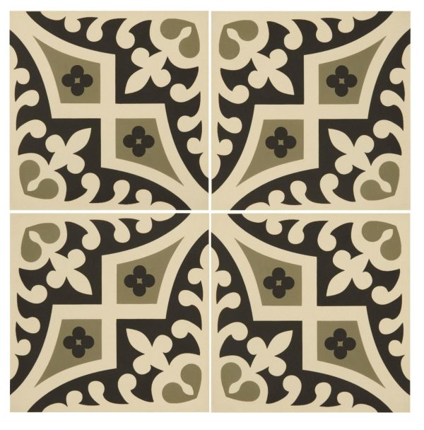 Original Style Odyssey. Romanesque Dublin and Black on White. Edinburgh Tile Studio.
