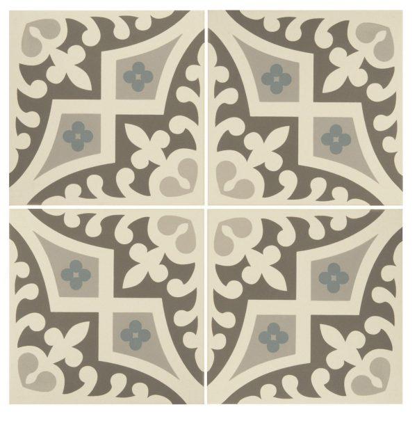 Original Style Odyssey. Grande Rococo Light Blue, Romanesque Light Blue, Light Grey and Dark Grey on Dover White. Edinburgh Tile Studio.