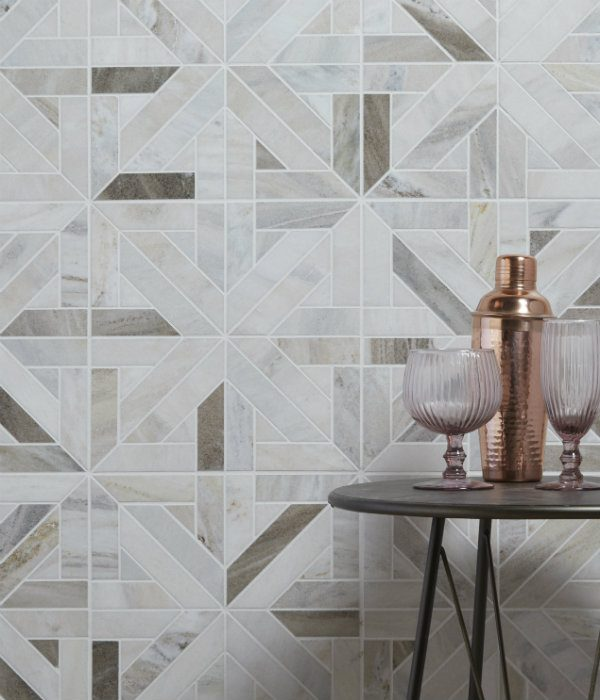 Ca' Pietra Tokyo Lattice Marble Mosaic. Edinburgh Tile Studio.