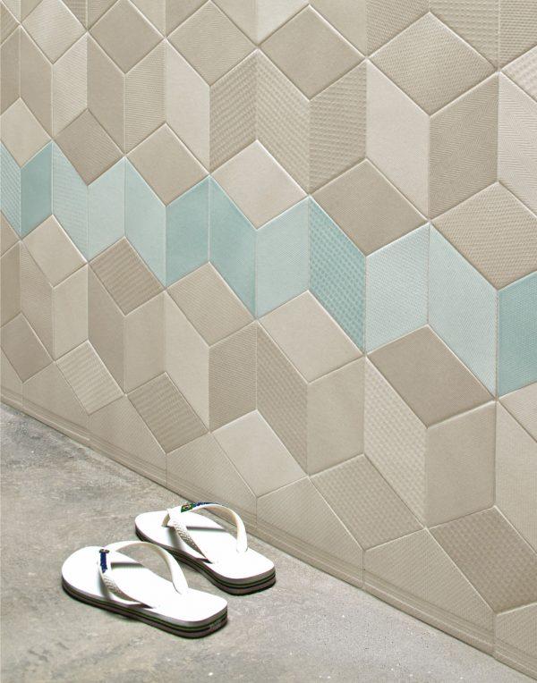Mutina Tex Cream and Blue with Cream Skirting. Edinburgh Tile Studio