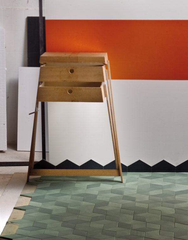 Mutina Tex Olive with Black Skirting. Edinburgh Tile Studio