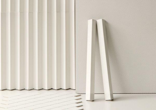 Mutina Rombini Triangle Small White, Carré Uni White and Losange White. Edinburgh Tile Studio