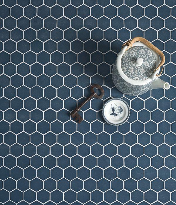 Ca' Pietra Brasserie Mosaic Blue. Edinburgh Tile Studio.