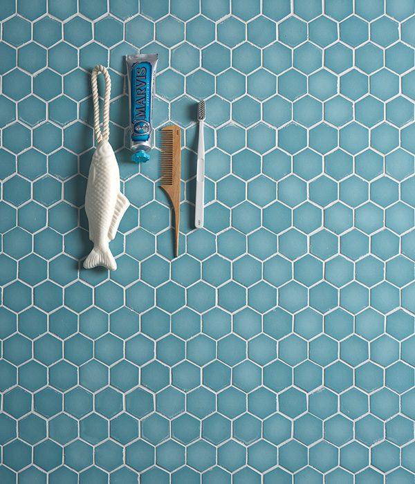 Ca' Pietra Brasserie Mosaic Turquoise. Edinburgh Tile Studio.