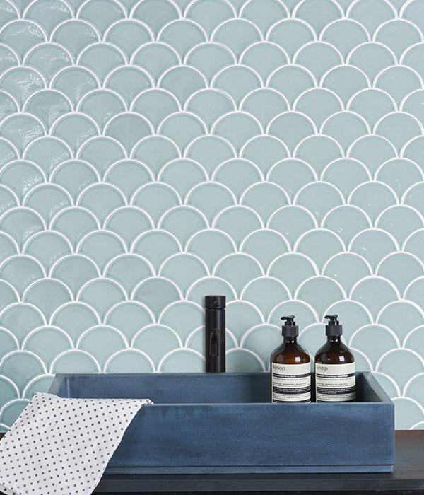 Ca' Pietra Gelato Mosaic Mint Porcelain. Edinburgh Tile Studio.
