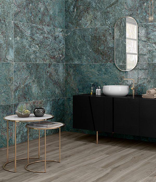 Ca' Pietra Marble Luxe Smeraldo Porcelain. Edinburgh Tile Studio.