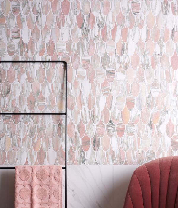 Ca' Pietra Plume Marble Flamingo Mosaic. Edinburgh Tile Studio.