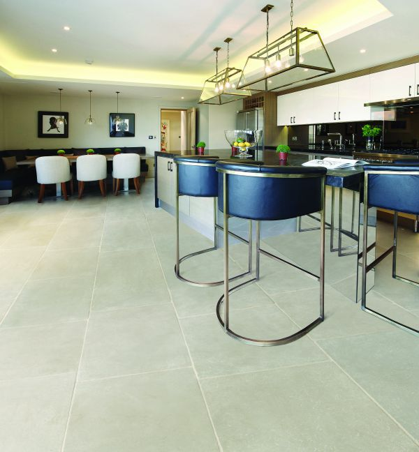 Ca' Pietra Eiffel Grey Limestone, tumbled, room shot 1, Edinburgh Tile Studio