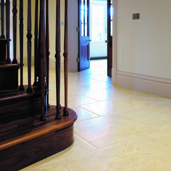 Ca' Pietra Neranjo Limestone, distressed, staircase room shot, Edinburgh Tile Studio
