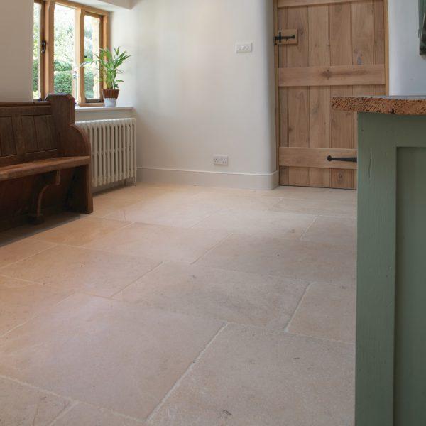 Ca' Pietra Neranjo Limestone, seasoned, hallway room shot, Edinburgh Tile Studio