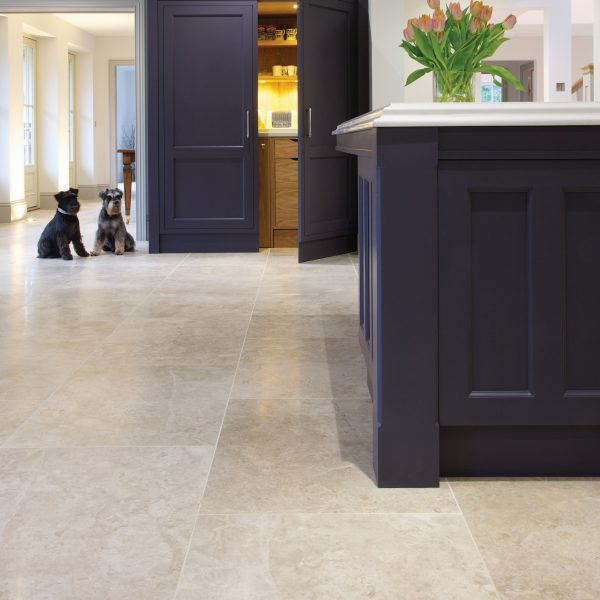 Ca' Pietra Piccadilly Limestone, honed, kitchen and dogs shot, Edinburgh Tile Studio