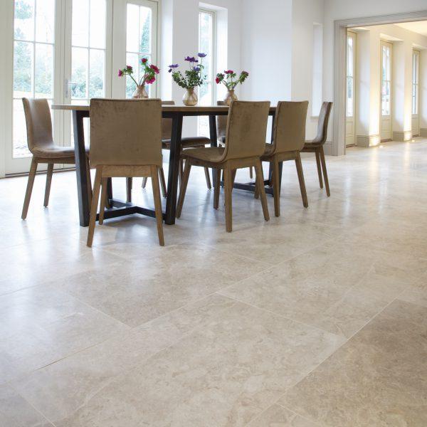 Ca' Pietra Piccadilly Limestone, honed, dining room shot, Edinburgh Tile Studio