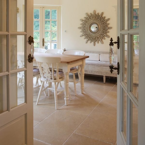 Ca' Pietra Shaker Limestone, tumbled, living room shot, Edinburgh Tile Studio
