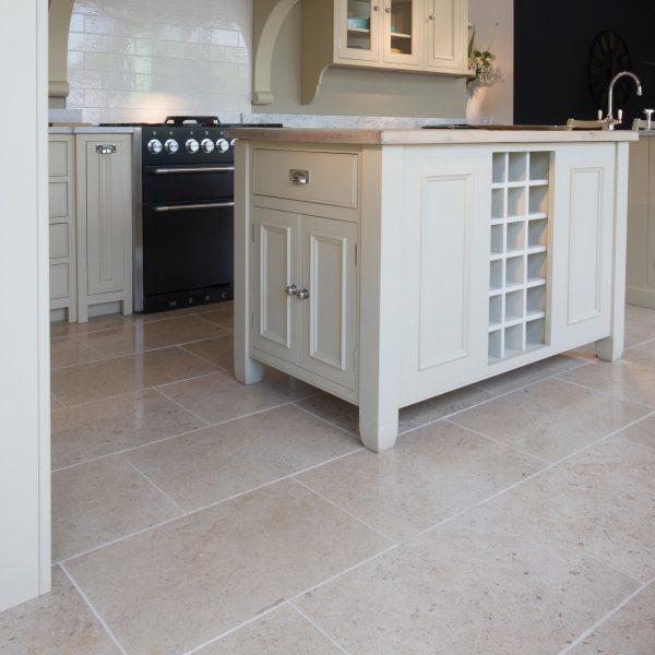 Ca' Pietra Zenna Limestone, honed, kitchen shot, Edinburgh Tile Studio