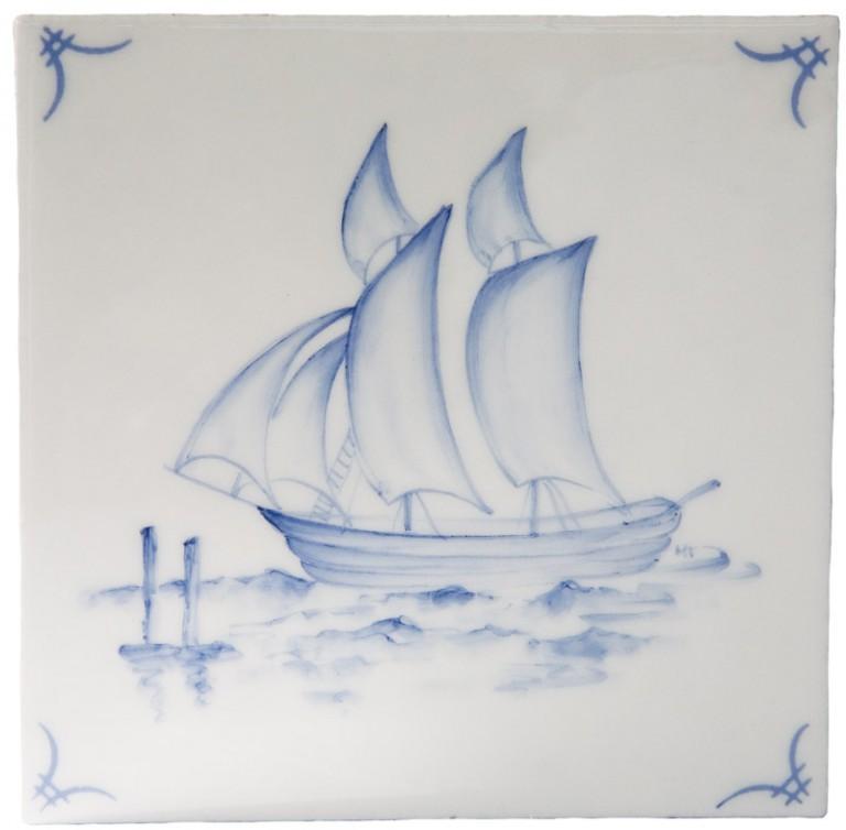 Marlborough Classic Ships & 'scapes Delft Tile 1, Edinburgh Tile Studio