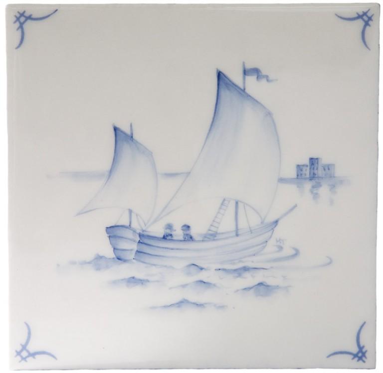 Marlborough Classic Ship & 'scapes Delft Tile 2, Edinburgh Tile Studio