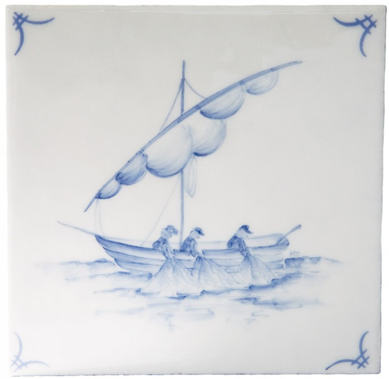 Marlborough Classic Ships & 'scapes Delft Tile 6, Edinburgh Tile Studio