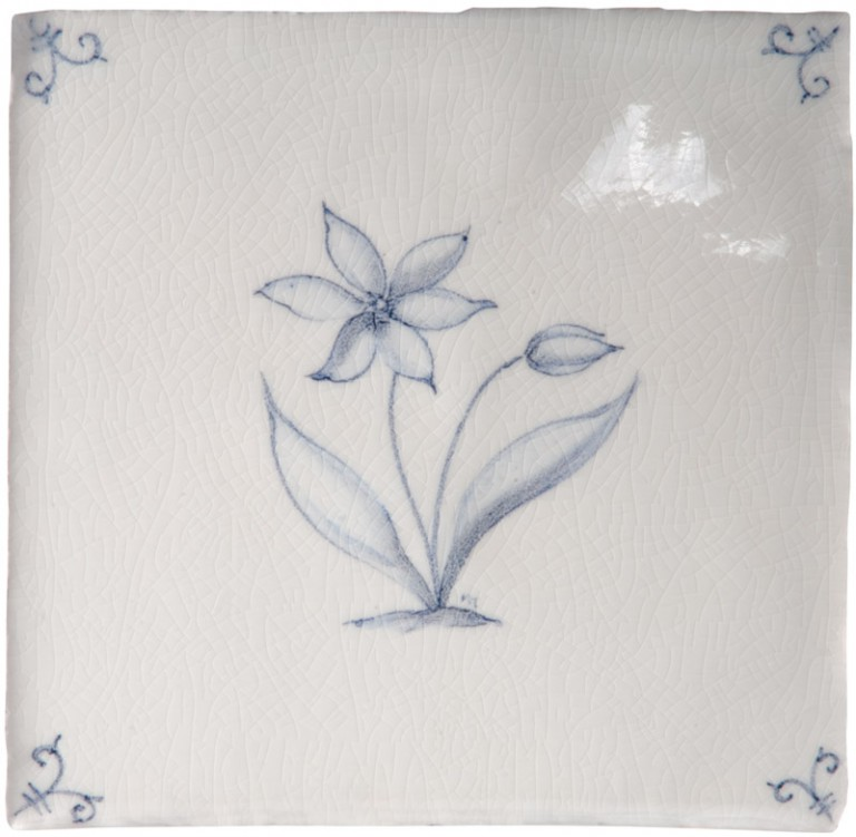 Marlborough Flower Delft Tile 3, Edinburgh Tile Studio