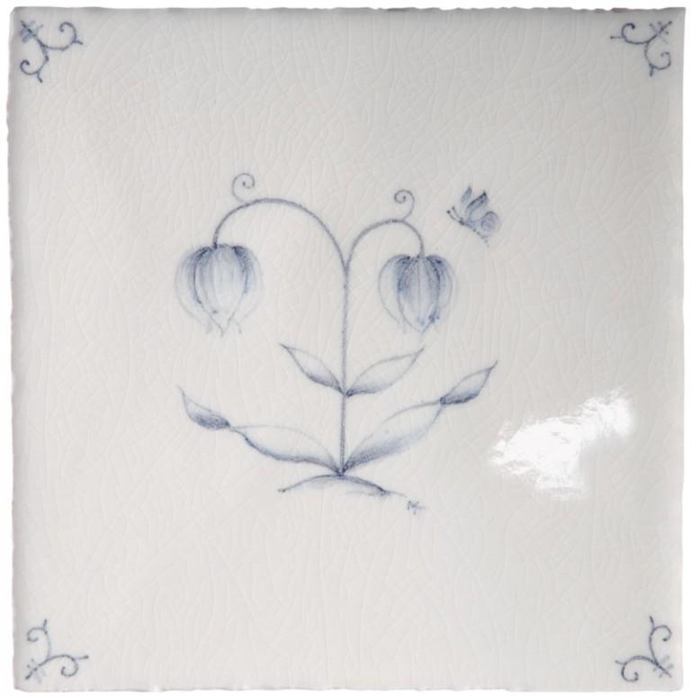 Marlborough Flower Delft Tile 4, Edinburgh Tile Studio