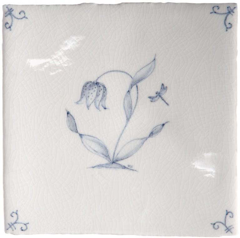 Marlborough Flower Delft Tile 5, Edinburgh Tile Studio