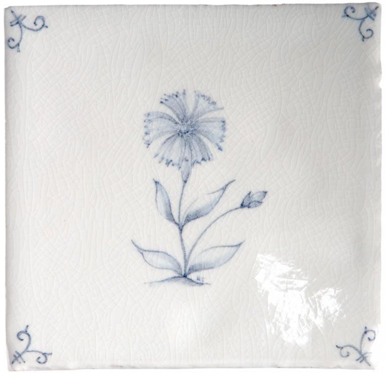 Marlborough Flower Delft Tile 6, Edinburgh Tile Studio