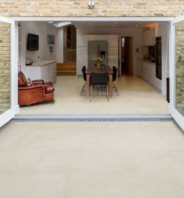 Ca' Pietra Neranjo Limestone, etched, exterior French door shot, Edinburgh Tile Studio