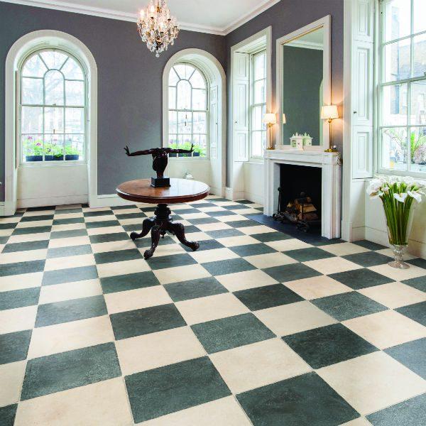 Ca' Pietra Zuber Limestone, tumbled, hall shot, Edinburgh Tile Studio